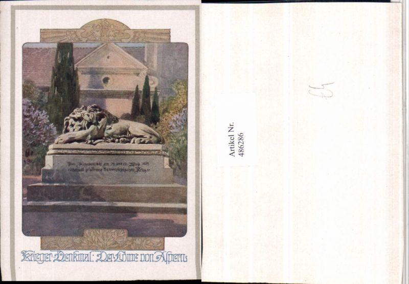 486286,Deutscher Schulverein Künstler Anton Reckziegel Aspern Löwe Krieger-Denkmal