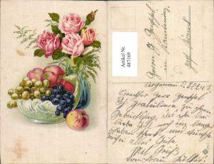 487169,Künstler Ak Vase m. Rosa Rosen Schale m. Obst Weintrauben Pfirsiche Blumen