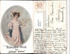 486443,Theo Stroefer 1386 Künstler Th. Zasche Frau Kleid Hut Fächer