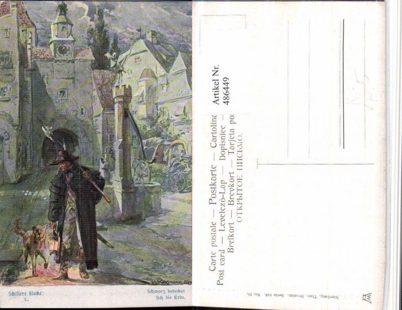 486449,Theo Stroefer 643/10 Künstler H. Kaufmann Nachtwächter Hund Schillers Glocke 0