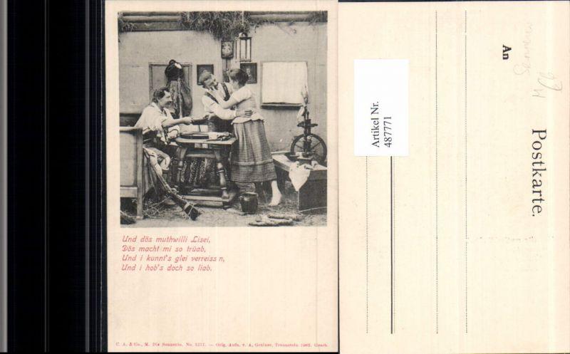 487771,Landwirtschaft Sennerin m. Männer Spinnrad Spruch Text