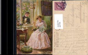 487790,Künstler Ak F. Doubek Zwei Herzen am Fenster Frau Nähen Sticken Heimarbeit Hausarbeit