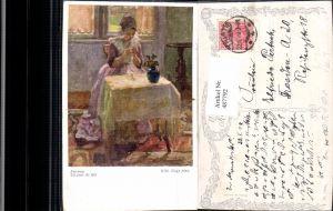 487792,Künstler Ak Wilh. Nagy Feiertag Frau Sticken Nähen Heimarbeit Hausarbeit pub B.K.W.I. 1664