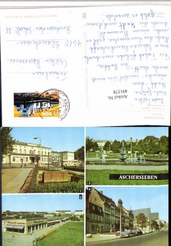491578,Aschersleben Bahnhof Rathaus Platz Mehrbildkarte pub VEB