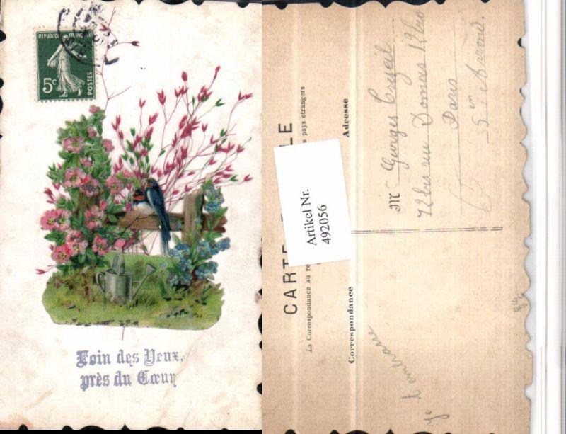 492056,Material Künstler AK Vögel Gießkanne Blumen