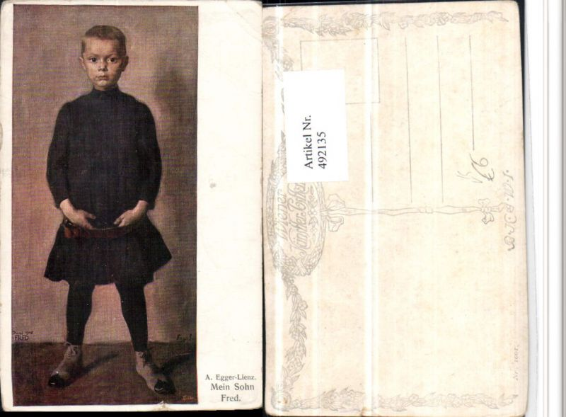 492135,Künstler AK A. Egger-Lienz Sohn Fred Bub Junge pub B.K.W.I. 1001