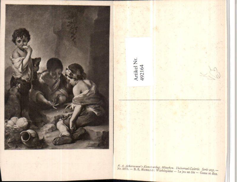 492164,Künstler AK B.E. Murillo Würfelspieler Kinder pub Ackermann 2075