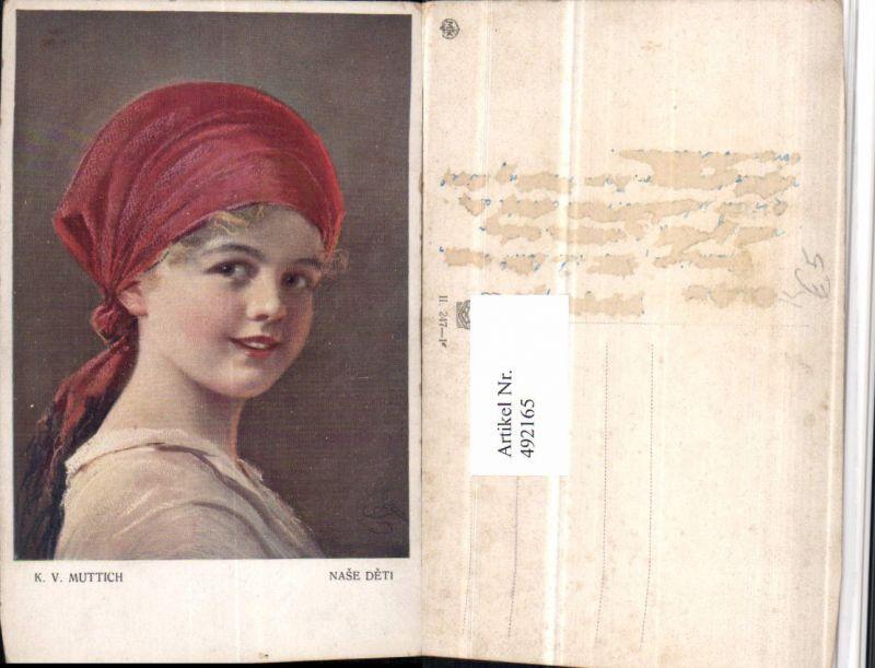 492165,Künstler AK K. v. Muttich Nase Deti Mädchen Kopftuch Portrait