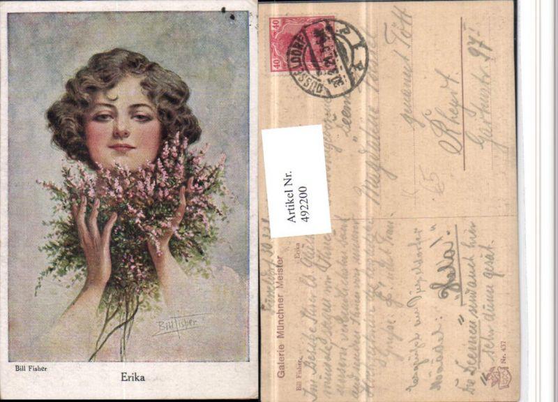 492200,Künstler AK Bill Fisher Erika Frau Blumen Portrait