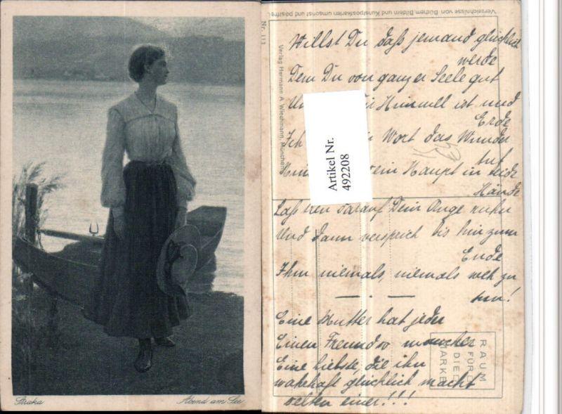 492208,Künstler AK Straka Abend am See Frau Rock Hut Ruderboot