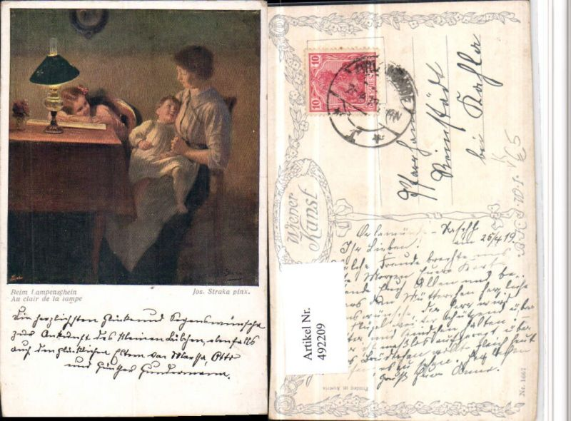 492209,Künstler AK Jos. Straka Lampenschein Mutter Kinder pub B.K.W.I. 1667