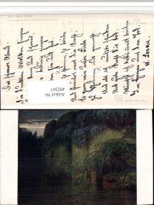 492267,Künstler AK Jos. Mandl Abend Felsen Höhle