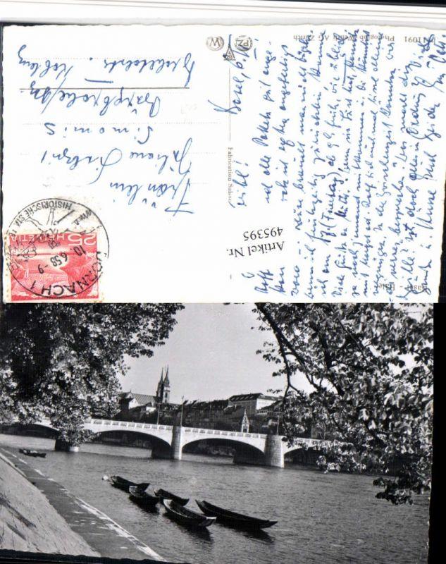 495395,Basel Teilansicht Brücke Boote