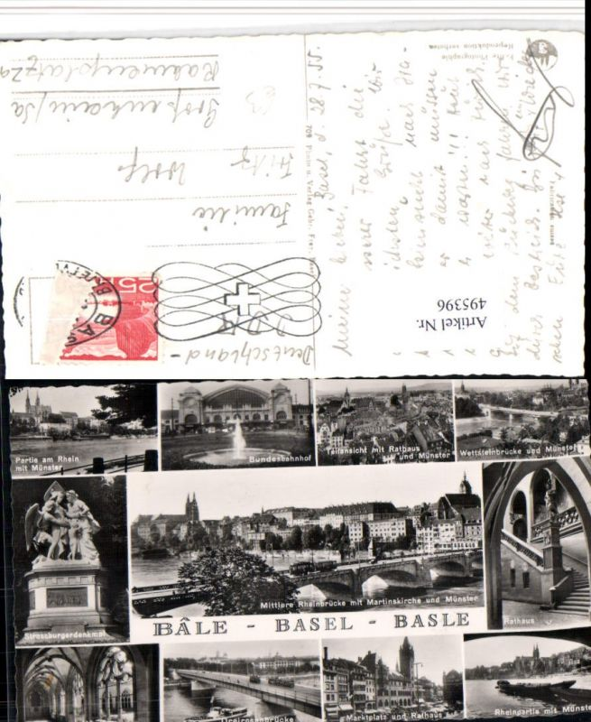 495396,Basel Totale Brücke Rathaus Bahnhof Denkmal Mehrbildkarte