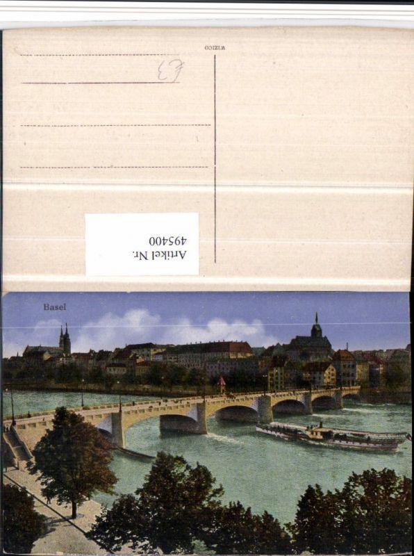 495400,Basel Teilansicht Brücke Dampfer