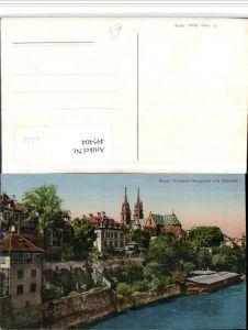 495404,Basel Teilansicht Deutschrittergarten m. Münster Kirche
