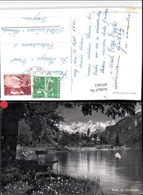 495482,Brienz am See Ufer Kirche geg. Haslibergen Bergkulisse Kt Bern