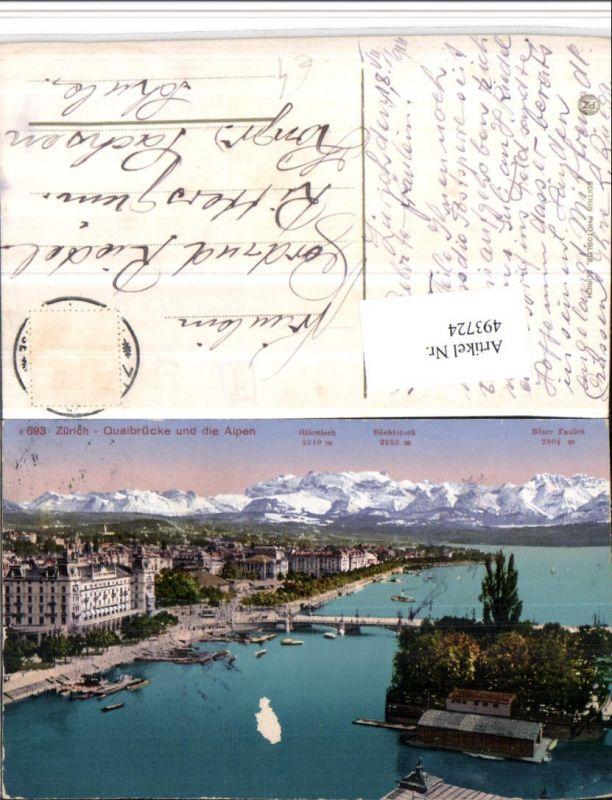 493724,Zürich Teilansicht Quaibrücke m. Alpen Bergkulisse