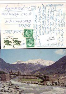 496329,India Jammu und Kashmir Lidder Valley Pahalgam Brücke Bergkulisse