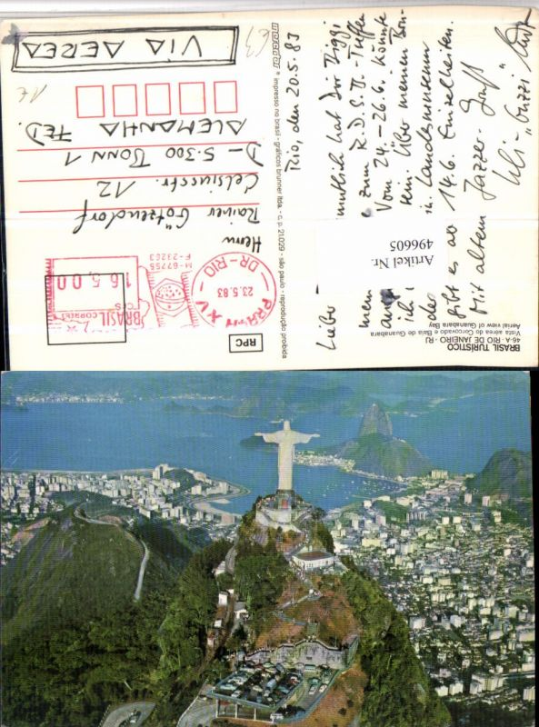 496605,Brazil Rio de Janeiro Aerial view of Guanabara Bay Christusstatue