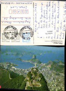496616,Brazil Rio de Janeiro Aerial view of Guanabara bay Christussstatue