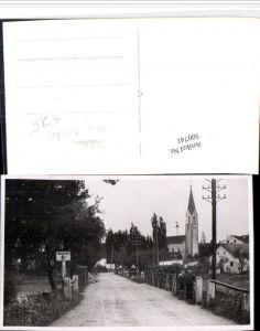 500741,Seltene Foto AK Riedau Straßenansicht Brücke Kirche