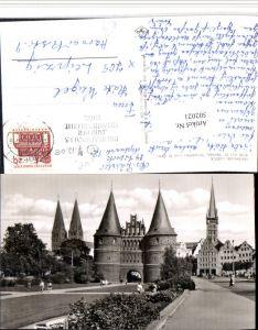 502021,Lübeck Blick auf St. Marien Holstentor u. St. Petri Kirche