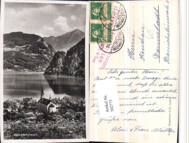 502773,Hergiswil Teilansicht Kirche Bergkulisse Kt Nidwalden