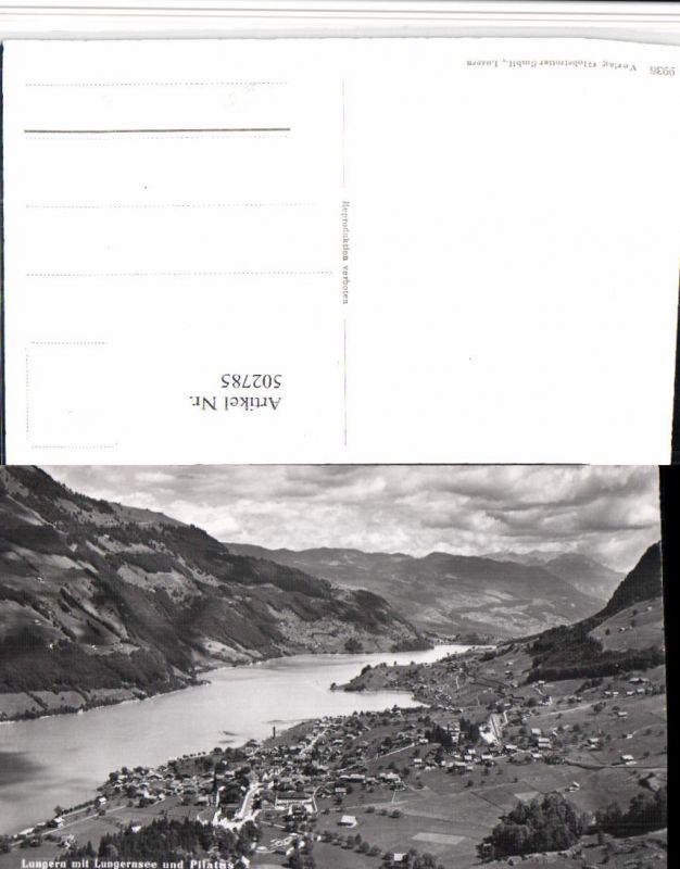 502785,Lungern Totale m. Lungernsee See u. Pilatus Bergkulisse Kt Obwalden