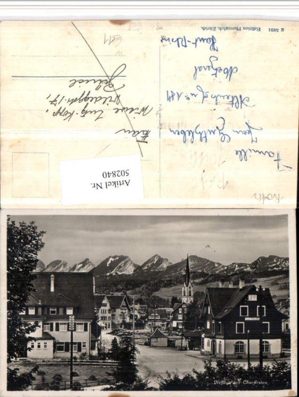502840,Nesslau Neßlau Teilansicht m. Churfirsten Bergkulisse Kt St Gallen