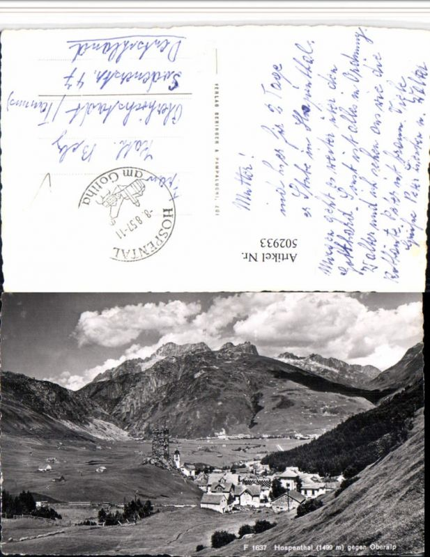 502933,Hospental Totale geg. Oberalp Bergkulisse Kt Uri