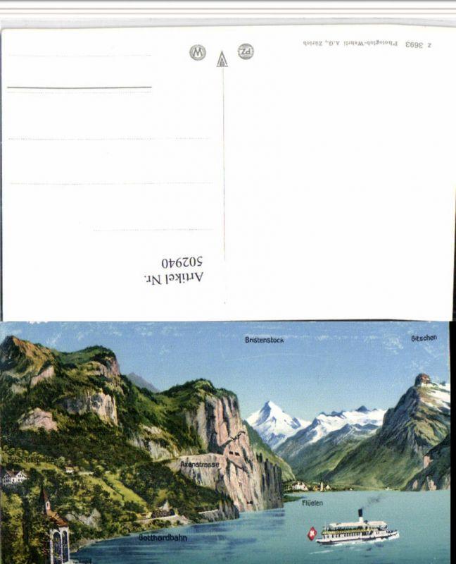 502940,Vierwaldstättersee Tellskapelle b. Flüelen Dampfer Bergkulisse Kt Uri