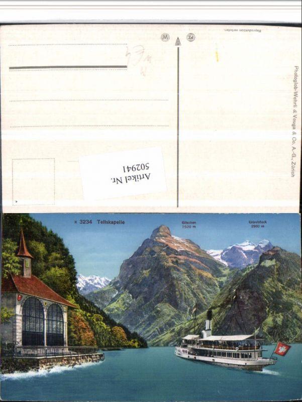 502941,Tellskapelle Kapelle b. Seelisberg Dampfer Bergkulisse Kt Uri