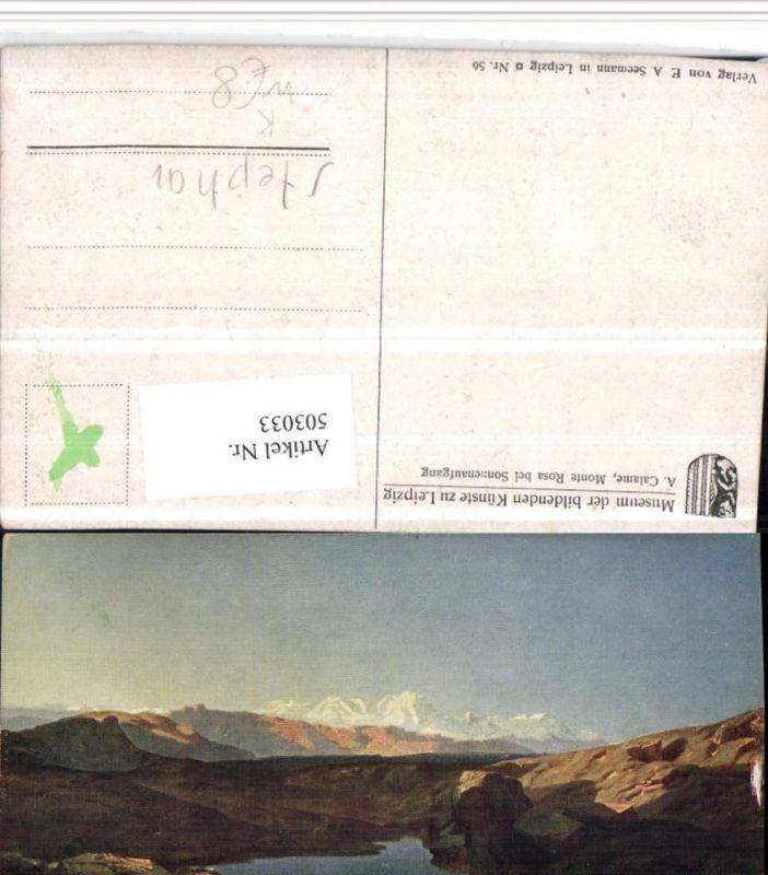 503033,Künstler K A. Calame Monte Rosa b. Zermatt Bergkulisse Kt Wallis