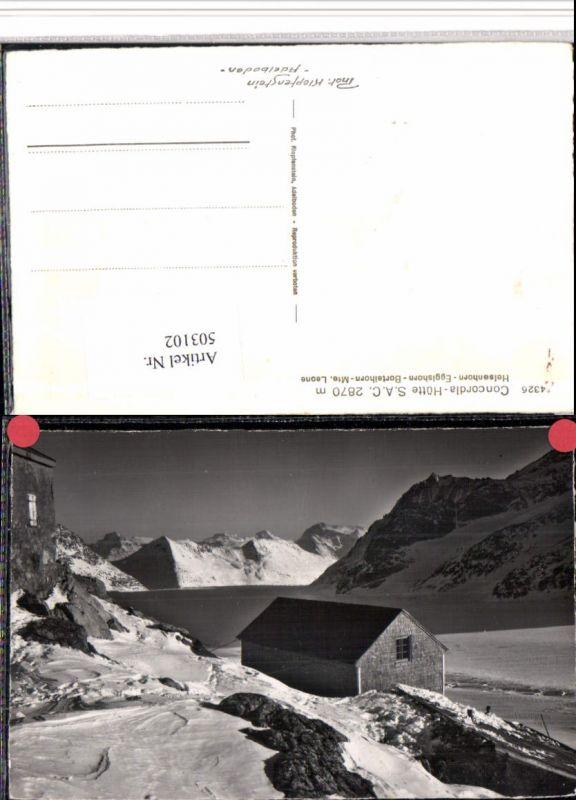 503102,Concorida-Hütte Berghütte m. Helsenhorn Bergkulisse Kt Wallis