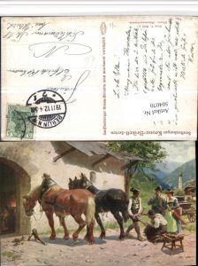 504070,Künstler AK L. Braun Hammerschmiede Beruf Handwerker Pferde