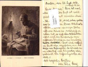 504077,Künstler AK J.-F. Millet Night Attendance Frau Sticken Nähen Heimarbeit