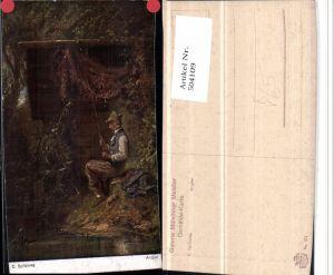 504109,Künstler AK C. Spitzweg Angler Fischer pub Münchner Meister 371