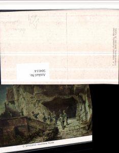 504114,Künstler AK C. Spitzweg Nächtliche Runde Polizei Nachtwächter pub Ackermann 3029