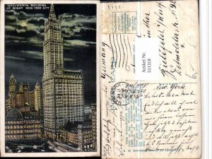 511318,New York City at Night Woolworth Building Gebäude