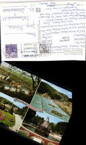 511436,Baden b. Wien Thermalbad Sanatorium Blumenuhr Brunnen Mehrbildkarte