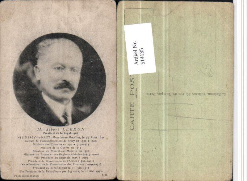 514135,Politiker Albert Lebrun President de la Republique Portrait