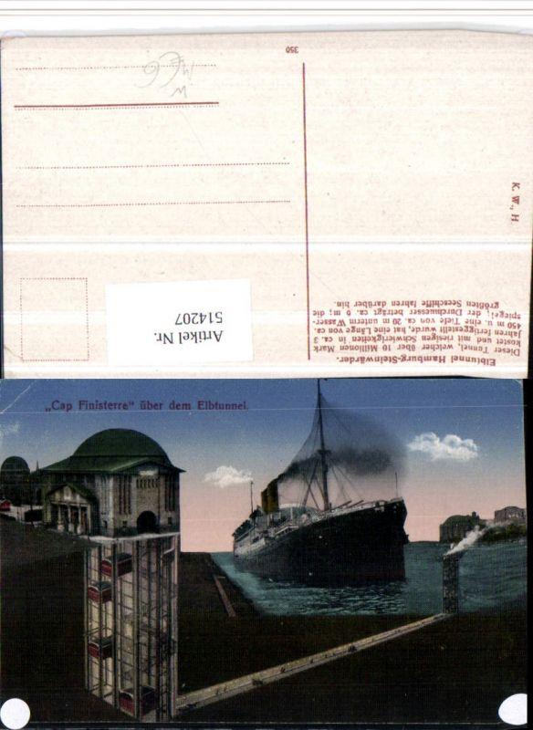 514207,Cap Finisterre über dem Elbtunnel b. Hamburg Schleuse Dampfer