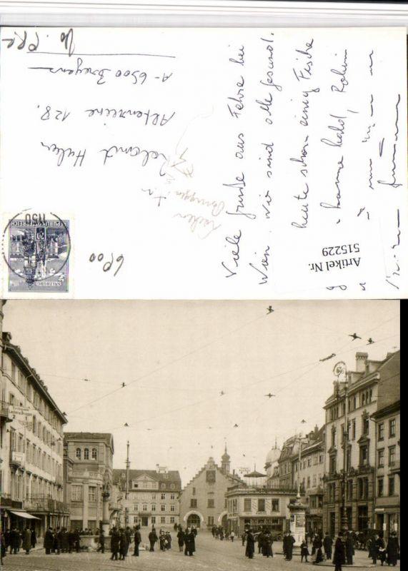 515229,Foto AK St. Gallen Einstiegsstelle Lachen Bruggen Straßenansicht Waaghaus Brunnen Litfaßsäule