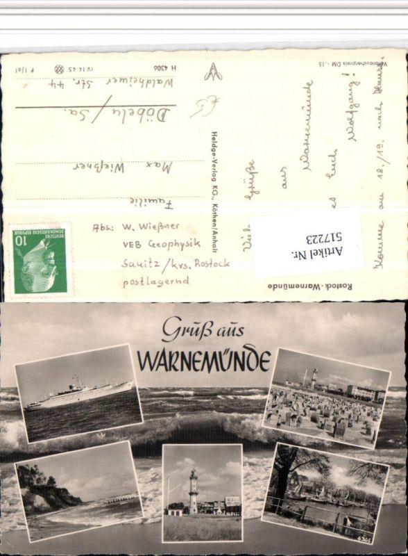 517223,Rostock Warnemünde Strand Leuchtturm Dampfer Mehrbildkarte