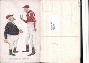 518109,Künstler Ak C.F. Bauer Scherz Humor Karikatur Rauchen Pfeife Polo