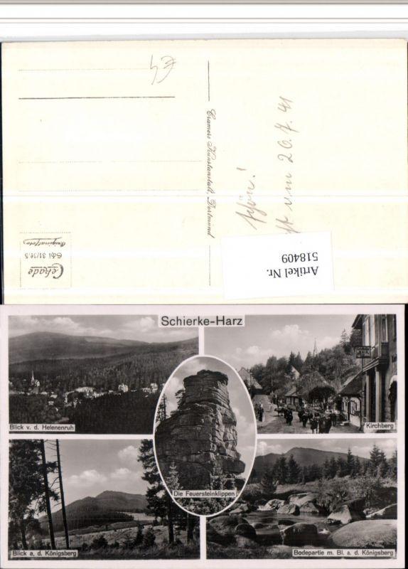 518409,Schierke im Harz Totale Kirchberg Klippe Mehrbildkarte