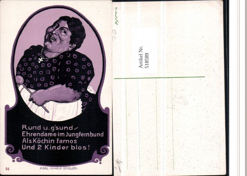 518589,Künstler AK Karl Maria Stadler Jungfrau Frauenfeindlicher Humor 0