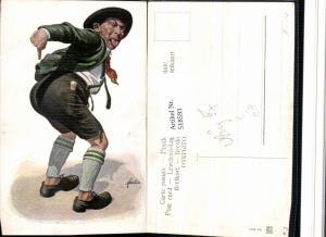 518593,Künstler AK F. Quidenus Exzentriker Mann Po Zunge Type Humor