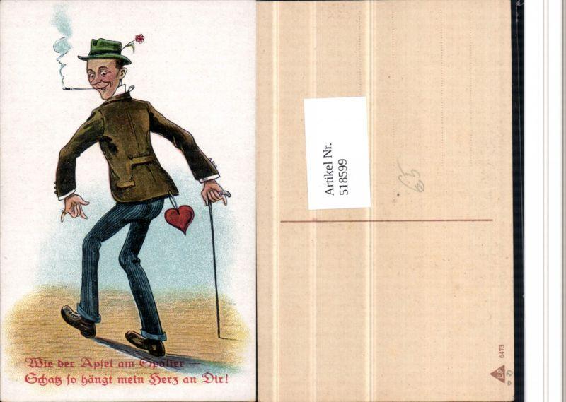 518599,Künstler AK Herz Zigarette Gehstock Stock Rauchen Humor